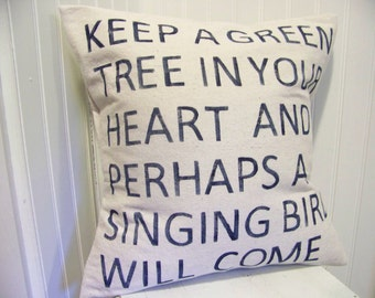 Keep a Green Tree in Your Heart pillow - navy blue - canvas - chinese proverb