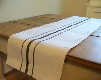 free shipping - grainsack table runner - black stripe - vintage style - canvas- rustic - farmhouse - custom - black runner - grainsack