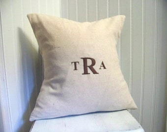 classic embroidered monogramed pillow cover - custom - linen - personalized gift - hostess gift- gift idea