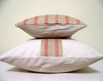 free shipping - Set of  two red stripe Jute pillows - jute - burlap - natural - christmas - rustic - farmhouse - coordinating
