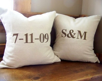 wedding  pillow cover set - embroidered - personalized wedding gift-custom- engagement - anniversary gift -personalized wedding