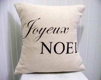 Joyeux Noel christmas pillow cover in black - joyeux noel - vintage style - linen - christmas decoration - french - christmas pi