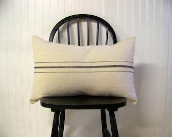 grainsack pillow cover - black stripe - canvas - vintage style - farmhouse - lumbar - rustic - rustic pillow