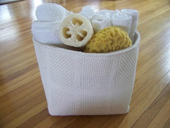 vintage white knit blanket basket - linen - large - storage - organization - gift basket / storage basket  - large basket - fabr