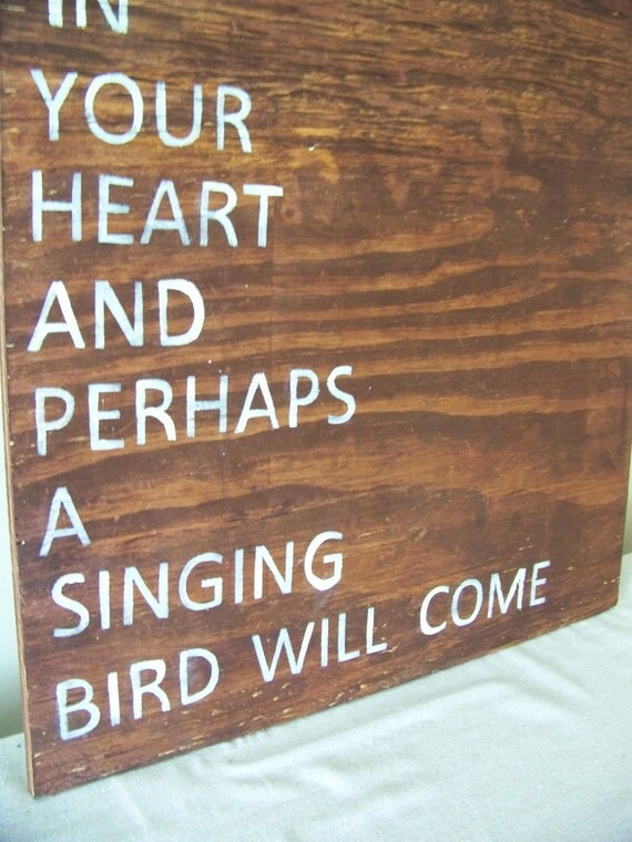 keep a green tree in your heart - chinese proverb - wooden sign - mahogany - antique white lettering- pottery barn