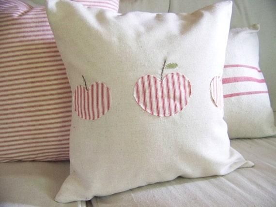 3 apples fall pillow - linen - red ticking stripe - fall home decor - appliqued / apple pillow / apples pillow/