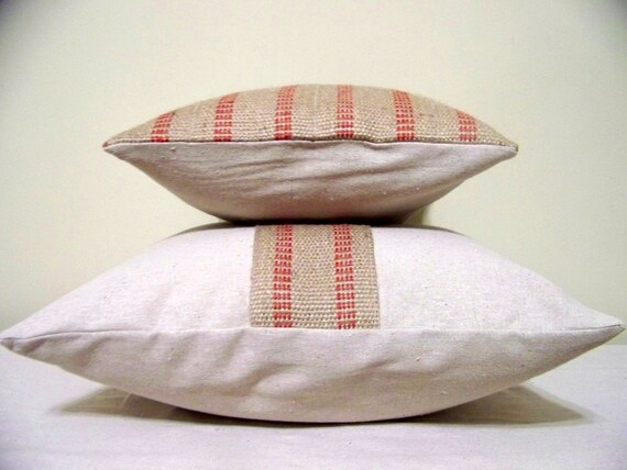 Set of  two red stripe Jute pillow covers - jute - burlap - natural - christmas - rustic - farmhouse - coordinating