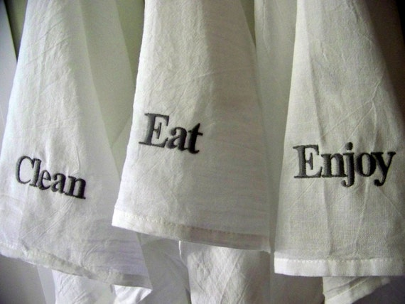 Embroidered tea towel - personalized - hostess gift - flour sack towel - kitchen towel - personalized gift