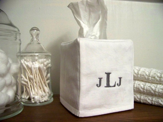 tissue box cover - monogrammed - personalized - embroidered - white cotton