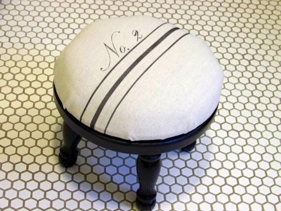 vintage style grainsack foot stool - black stripe - No. 2 - black wooden