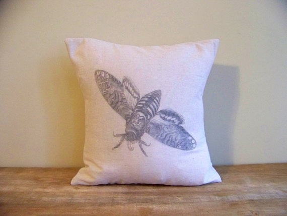 moth pillow cover / vintage style / butterfly / linen / gray / spring home decor / insect / summer / nature / natural /