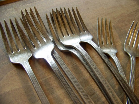 set of 8 vintage silver plated forks - monogram F - found