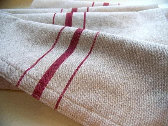 red stripe table runner - grainsack - red stripe - vintage style - canvas - grainsack runner -red table runner - farmhouse decor