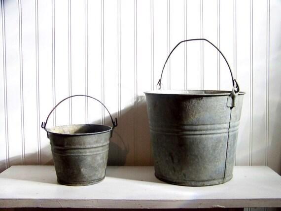 set of 2 galvanized buckets - spring garden - rustic metal - vintage garden - planter - storage - organization