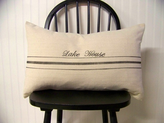 grainsack pillow cover- black stripe - personalized - lake house - vintage style - lumbar - canvas