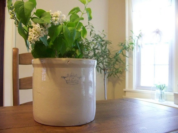 antique stoneware crock - crown - number 2 - blue - planter - mothers day