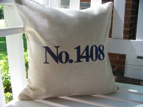 embroidered house number pillow cover / navy blue / personalized pillow / numbers pillow / gift idea / cushion cover / porch / e
