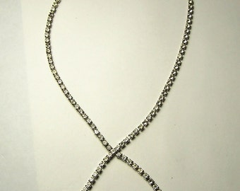 Vintage Rhinestone STRAIGHT LINE CROSSOVER Necklace