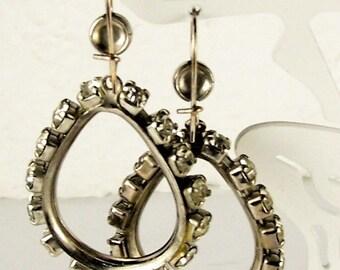 Fantastic Vintage Rhinestone Pierced Hoop Earrings