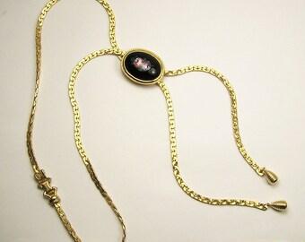 Vintage Flat Link LARIET Necklace with ENAMEL SLIDE