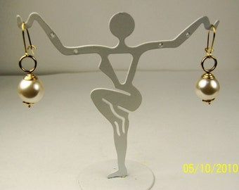Vintage Ladies Stylish Faux Pearl and Gold Filled Pierced Earrings