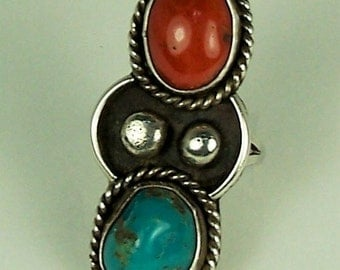 Vintage Ladies NATIVE AMERICAN Navajo Sterling Silver Turquoise and Coral Long Dinner Ring