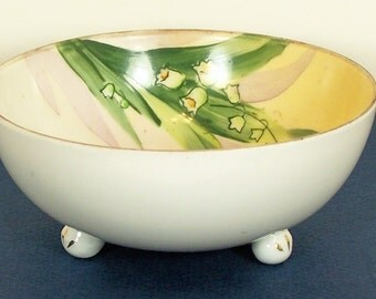 Rare and Highly Collectible Vintage Handpainted Lily of the Valley  NIPPON PORCELAIN BOWL
