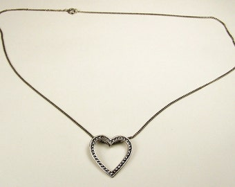Vintage Sterling Silver and Marcasite Heart Pendant With Chain