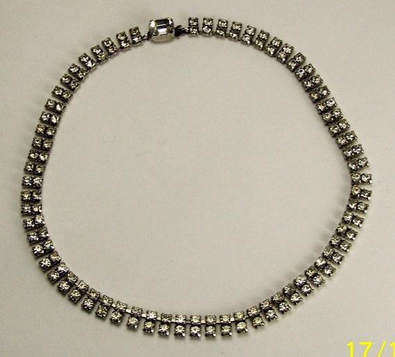 Stunning Vintage RHINESTONE DOUBLE ROW Choker Necklace