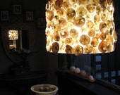 Suspended Lamp with Shell Mosaic Drum Shade
