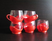 5 bright red melitta glass teacups