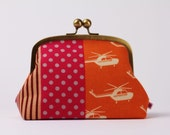 Metal frame clutch bag - Travel purse - Etsuko helicopters in fuchsia