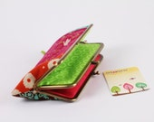 Long siamese - Echino patchwork in bright - double metal frame purse