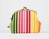 Pop up - Remix stripes in summer - double metal frame purse