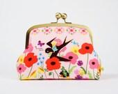 Travel pouch - Fairy garden in pink - metal frame pouch