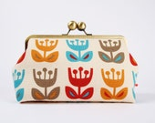 Home pouch - Tulipe dawn - metal frame clutch bag