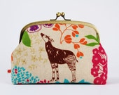 Rounded cosmetic pouch - Echino Savannah in natural - metal frame clutch bag