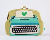 Maxi siamese - Typewriters in blue - double metal frame purse