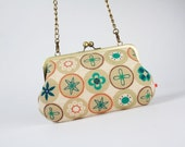 Little handbag - Retro dots in winter - metal frame purse with shoulder strap