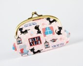 Big smile - Eau de mer cats on pink - metal frame purse