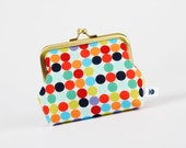 Deep dad - Mod dots in red - metal frame purse