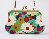 Party purse - Retro flowers on blue - metal frame purse with shoulder strap