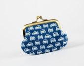 Mummy purse - Beetles in blue - metal frame purse