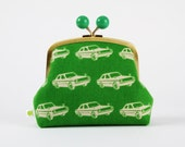Color bobble pouch - Echino cars on green - metal frame clutch bag
