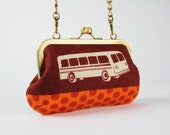 Party purse - Echino Bus in rust - metal frame handbag with shoulder strap