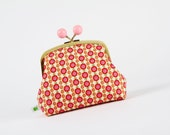 Color bobble pouch - Tiny flowers in red - metal frame clutch bag