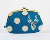 Big siamese - Echino Buck in blue  - double metal frame purse