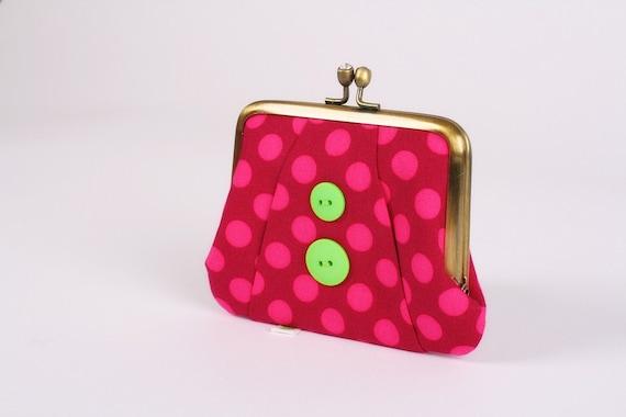 Button - Ta dots in fushia - metal frame purse