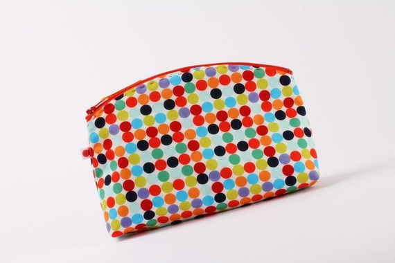 CIJ sale -Big rounded zipper purse - Mod dots in red