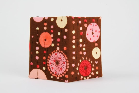 Card holder - Mobile jewels in brown and pink